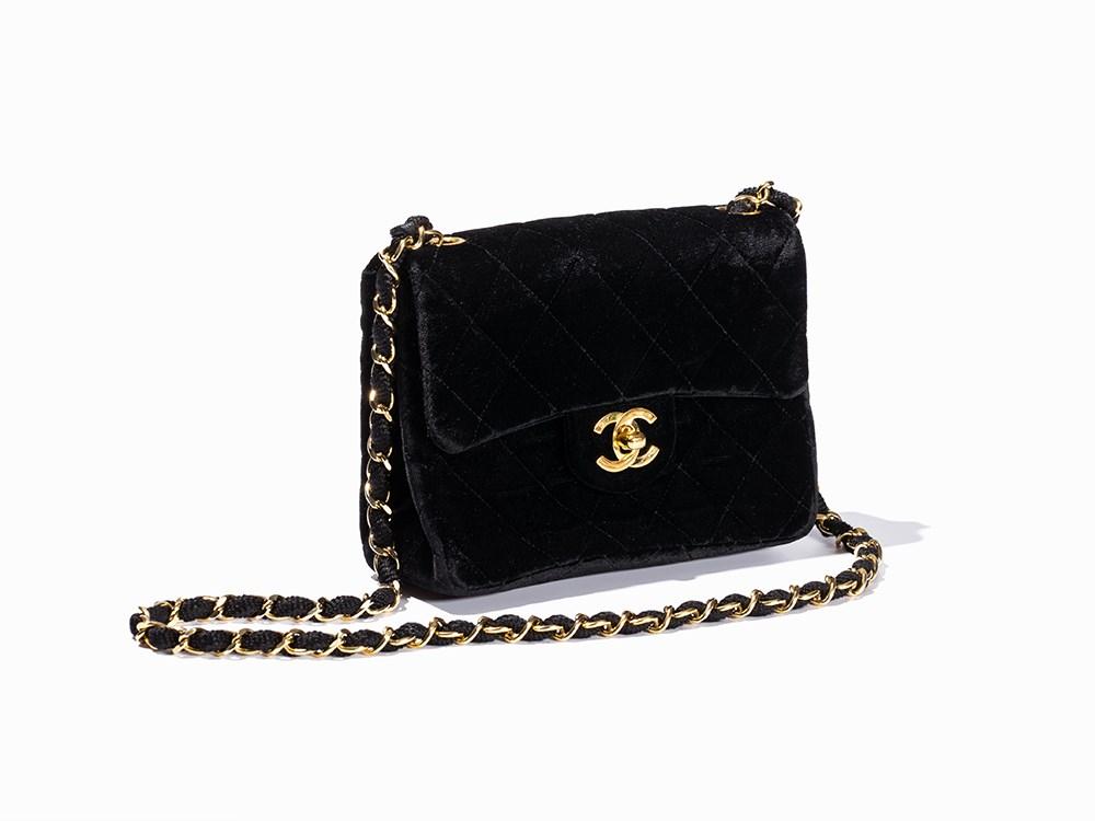Chanel Black Velvet Quilted Mini Flap Bag France 1989 91 Ros 233