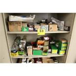 LARGE QTY OF ASSORTED HARDWARE IN TWO DOOR CABINET