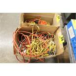 LARGE QTY OF EXTENSION CORDS & OUTLET STRIPS IN BOX