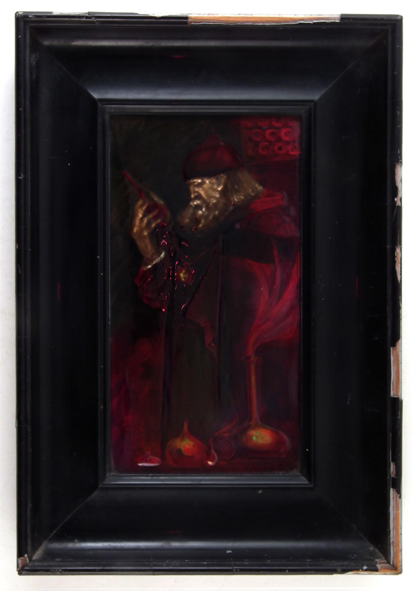 Lot 84 - 'The Alchemist' flambé plaque by Royal Doulton Art Director Charles Noke, depicting a robed figure