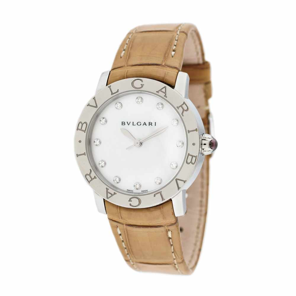 Bvlgari wristwatch, decorated with diamonds and mother of pearl, women