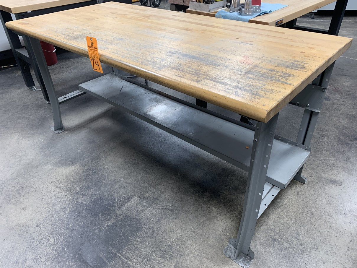 """Lot 24 - 34"""" x 72"""" Wood Top Work Bench (Located at: R & D Components)"""