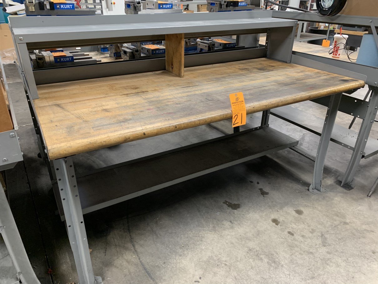 """Lot 21 - 34"""" x 72"""" Wood Top Work Bench (Located at: R & D Components)"""