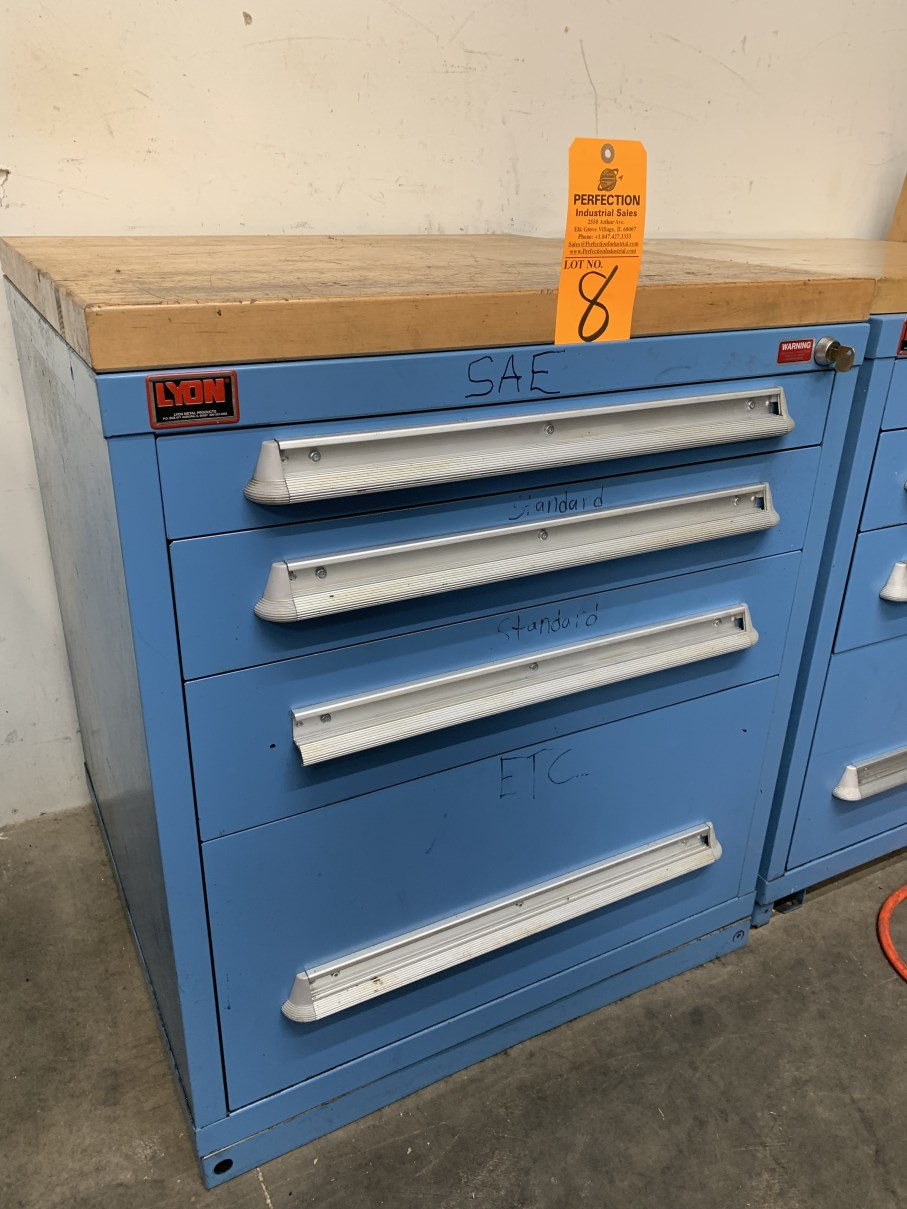 """Lot 8 - Lyon 4-Drawer 33"""" Ball Bearing Tool Cabinet w/ Wood Top (Located at: R & D Components)"""