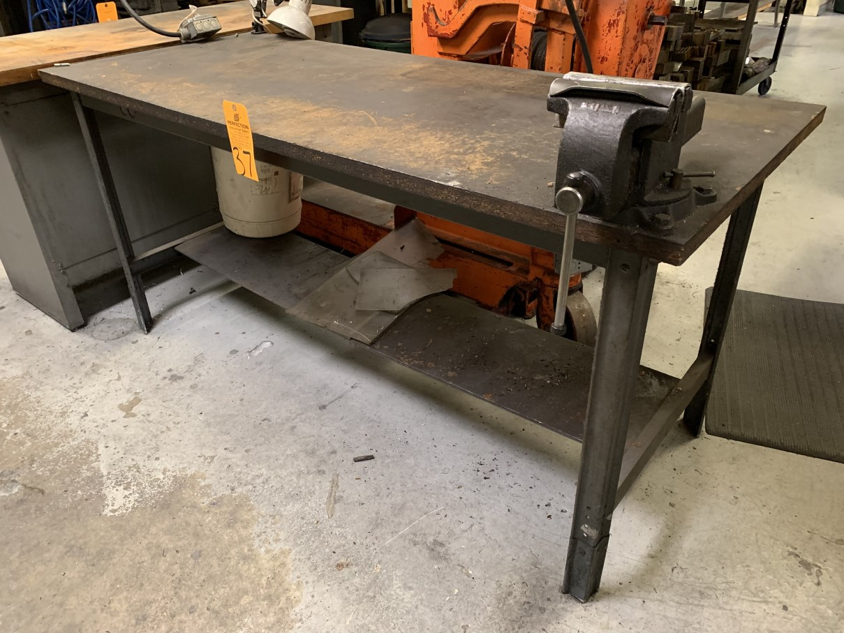 "Lot 37 - 30"" x 72"" Work Bench w/ 6"" Bench Vise (Located at: Goudie Tool & Engineering )"