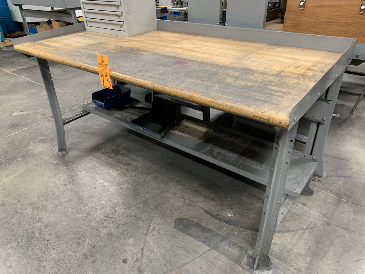 "Lot 23 - 34"" x 72"" Wood Top Work Bench (Located at: R & D Components)"