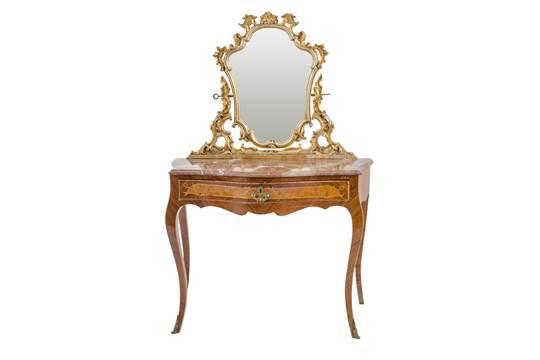 TOLETTA CON POLTRONCINA stile Luigi XV in legno di rosa e radica di ...