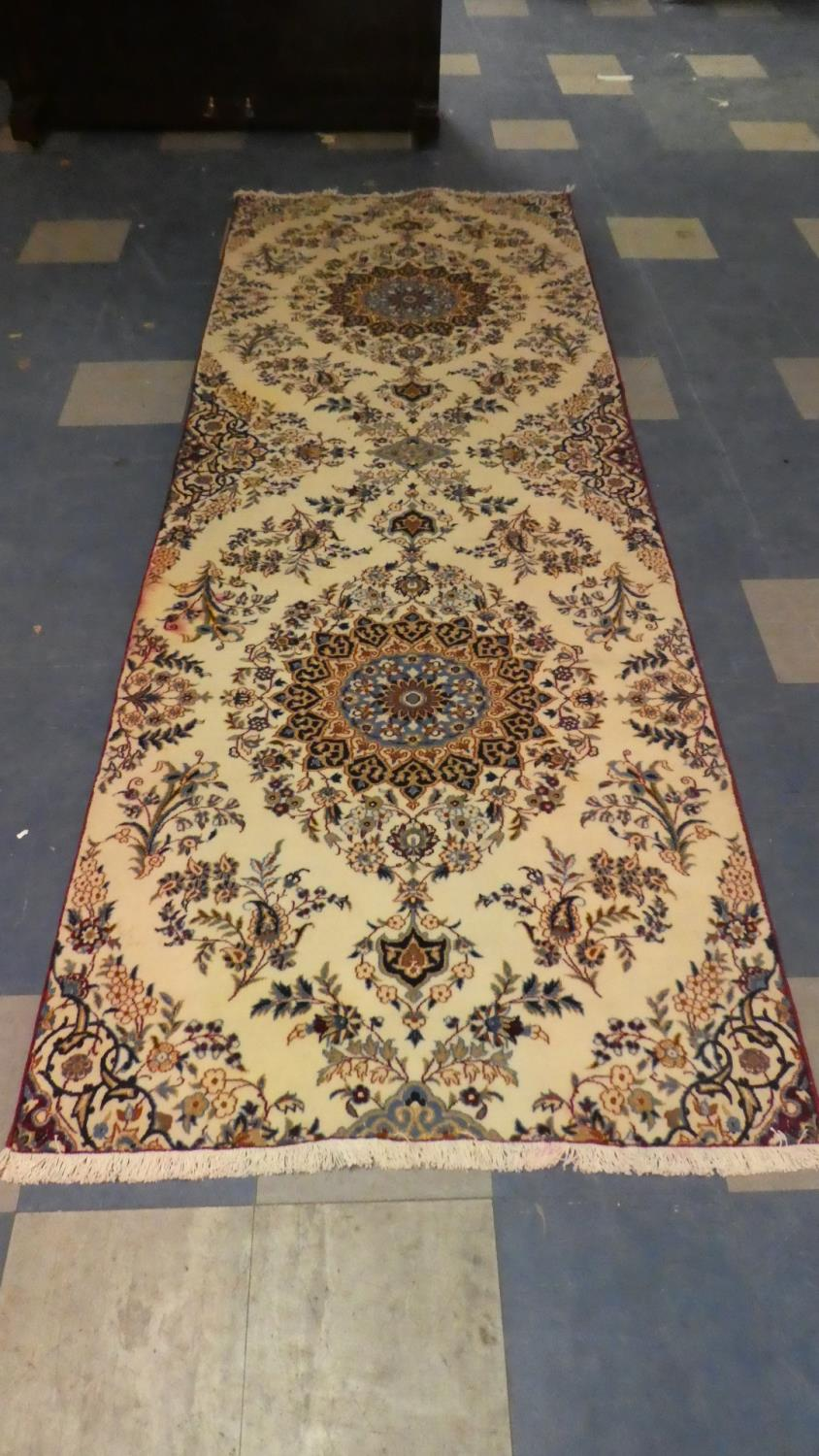 Lot 390 - A Fine Persian Nain Runner, 307cm x 106cm