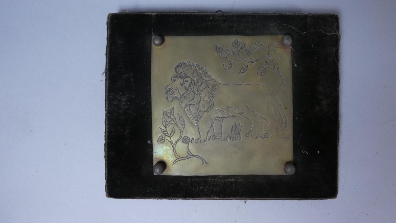 Lot 38 - A Pair of Framed 19th Century Engraved Brass Plates Depicting Lions, Each 13cm Square