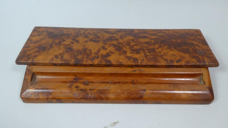 Lot 9 - A Far Eastern Burr Wood Desk Top Pen Box, 27.5cm Wide
