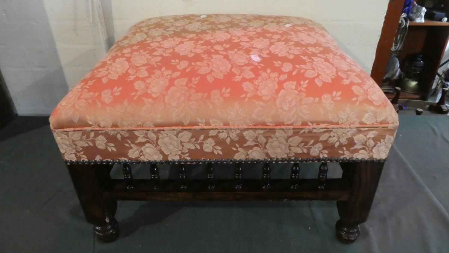 Lot 29 - A Late 19th Century Square Upholstered Foot Stool with Spindle Supports, 57cm