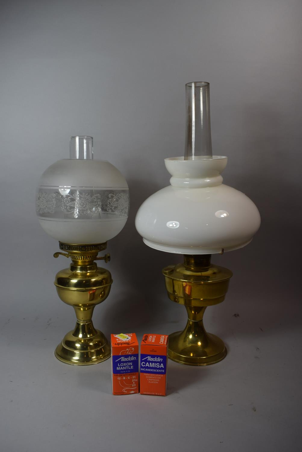 Lot 47 - Two Brass Oil Lamps with Glass Shades and Chimneys