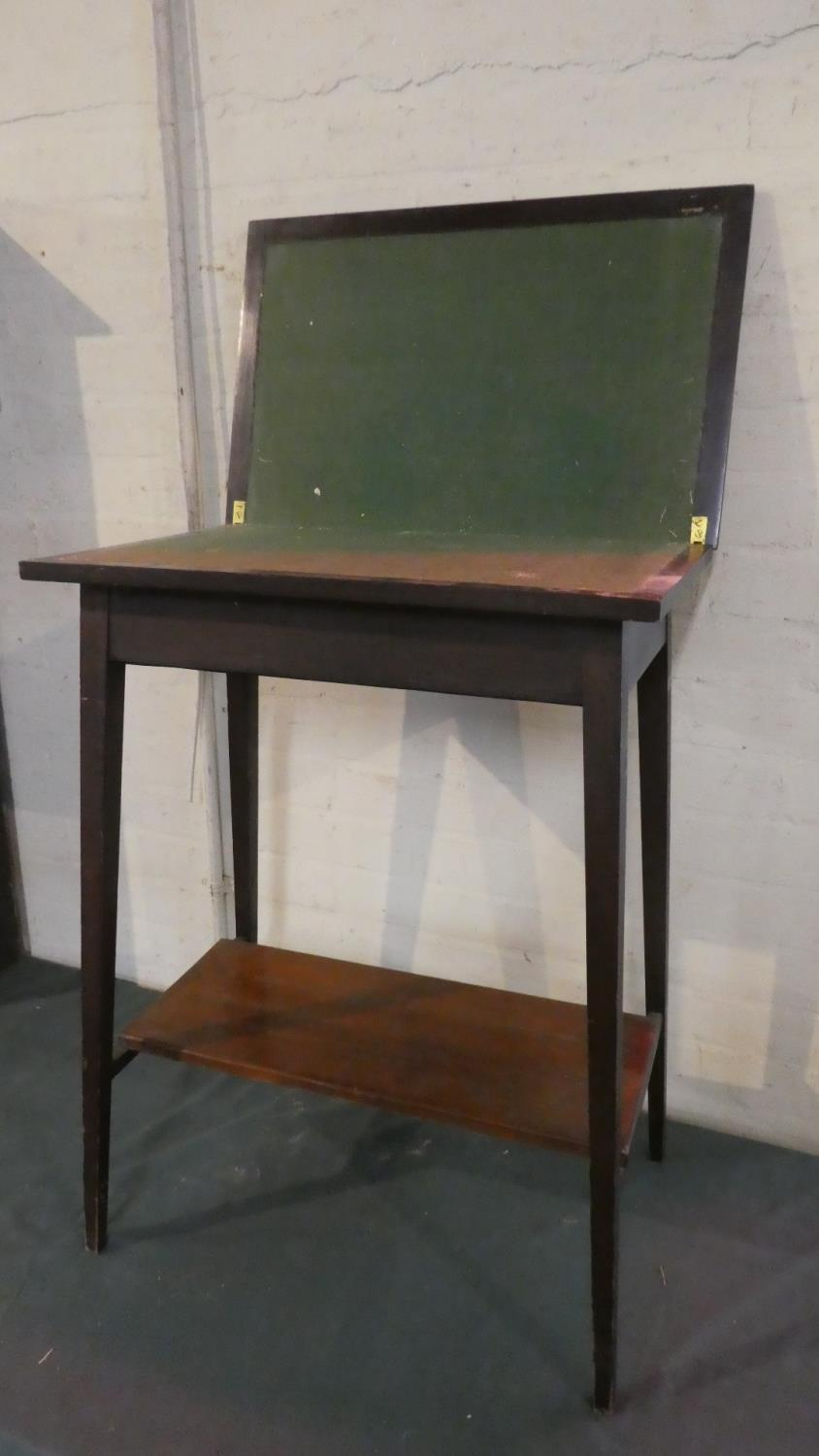 Lot 54 - An Edwardian Mahogany Lift and Twist Top Games Table with Beize Playing Surface and Stretcher Shelf,