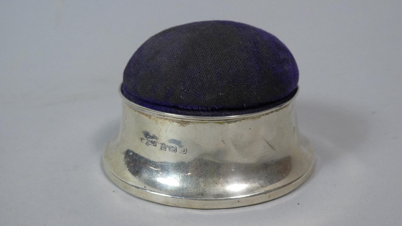 Lot 3 - A Silver Mounted Circular Pin Cushion Box, 8cm Diameter, Birmingham 1918