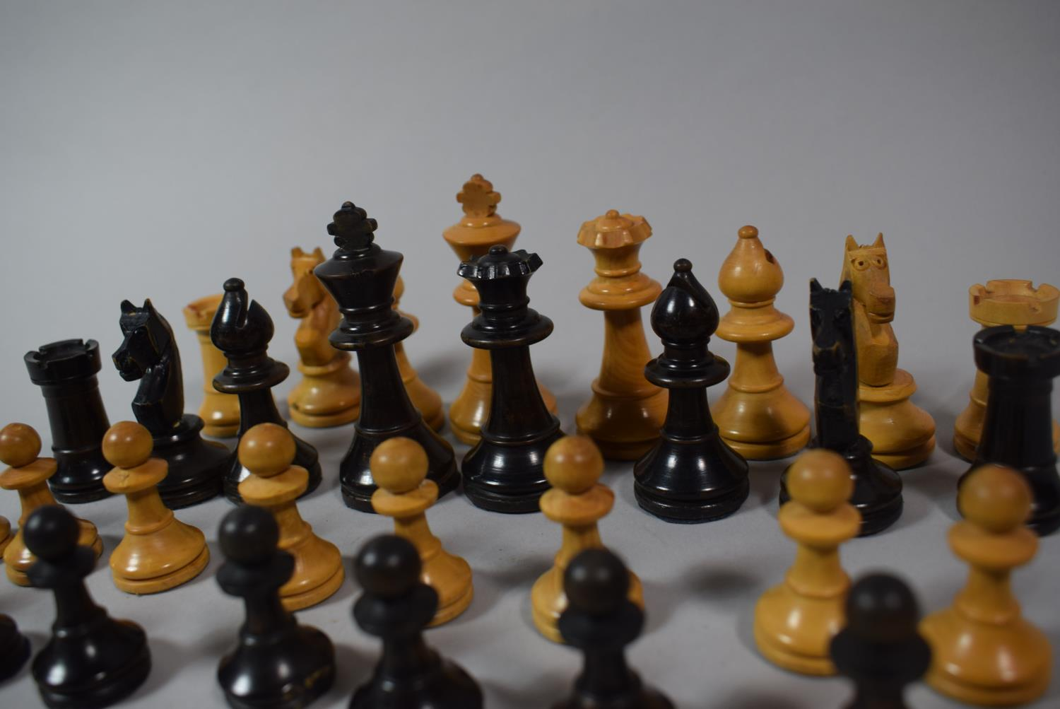 Lot 52 - A Full Set of Small Turned Wooden 'Staunton Style' Chess Pieces, King 7cm High