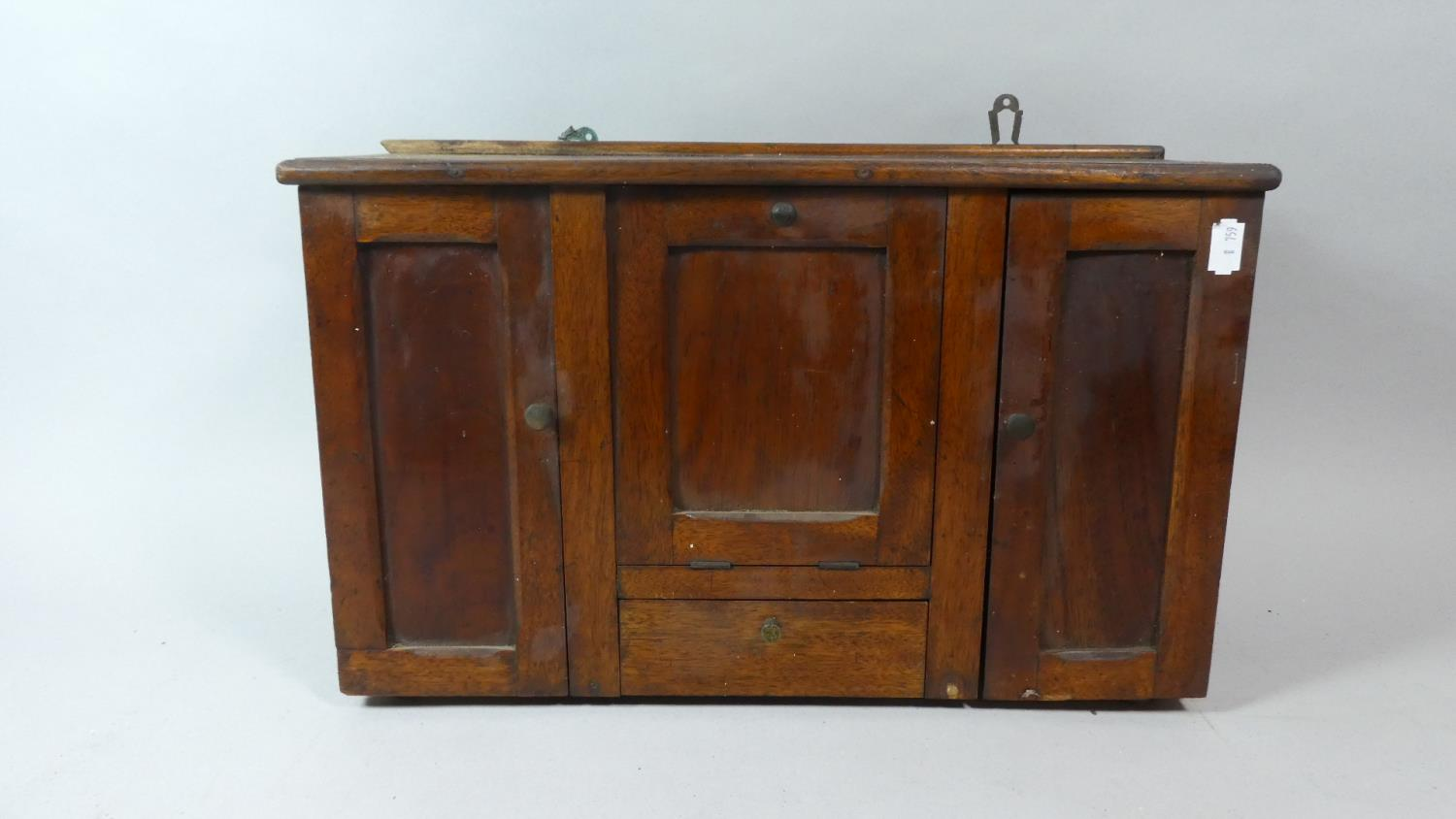 Lot 35 - A Late 19th Century Wooden Spice Cabinet with Centre Pull Out Tea Caddy Store Over Small Drawer