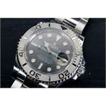 GENTLEMENS ROLEX YACHT-MASTER WRISTWATCH MODEL 116622 W/BOX, circular dark rhodium dial with applied