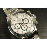 GENTLEMENS ROLEX ZENITH DAYTONA WRISTWATCH MODEL 16520 W/BOX & PAPERWORK, circular white dial with
