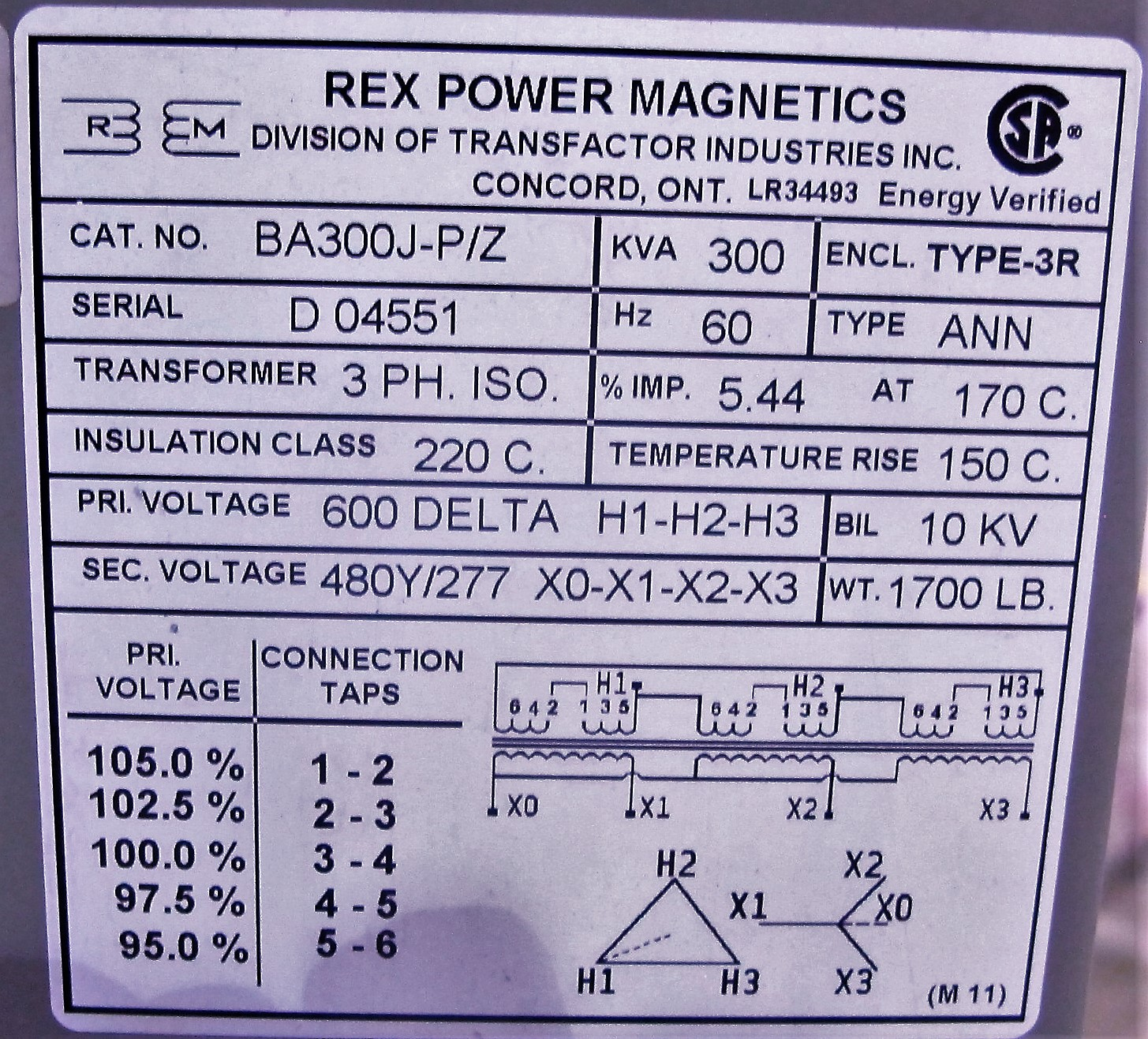 Lot 53 - REX GREEN STAR 300 KVA TRANSFORMER, 3 PHASE