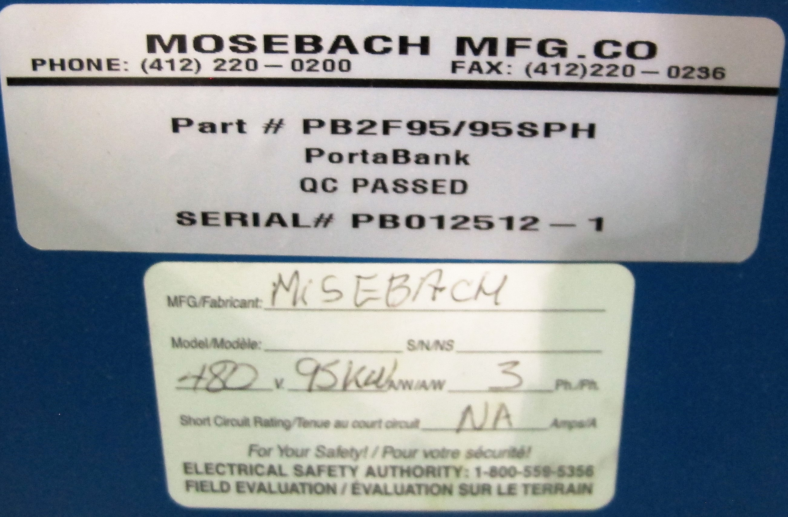 Lot 34 - MOSEBACH PORTABANK PB2F95/95SPH CONTROL UNIT, S/N PB012512-1, 480V, 95KW