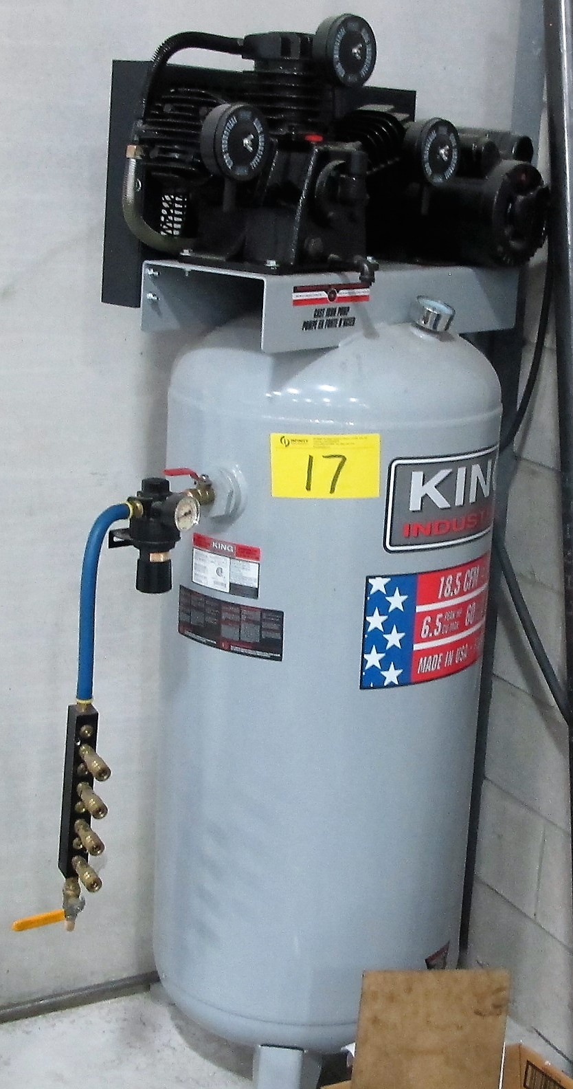 Lot 17 - KING INDUSTRIAL 6.5HP, 60 GALLON TANK TYPE COMPRESSOR