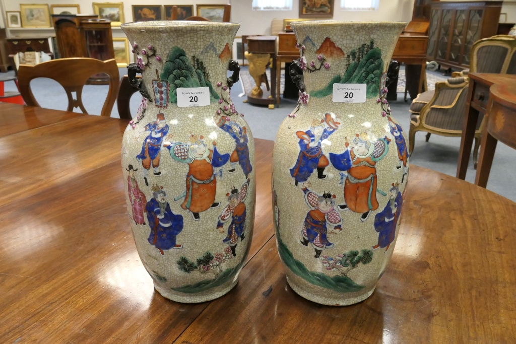 Lot 20 - Pair of Chinese famille rose craquelure vases, late 19th Century, ovoid shape with wide neck,