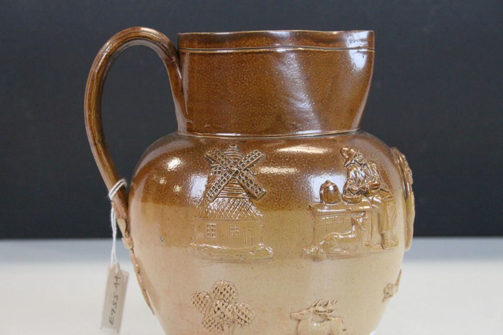 """Lot 3 - 19th Century Doulton Lambeth Harvest pattern Saltglaze jug bearing """"VR"""" roundel with Crown and"""
