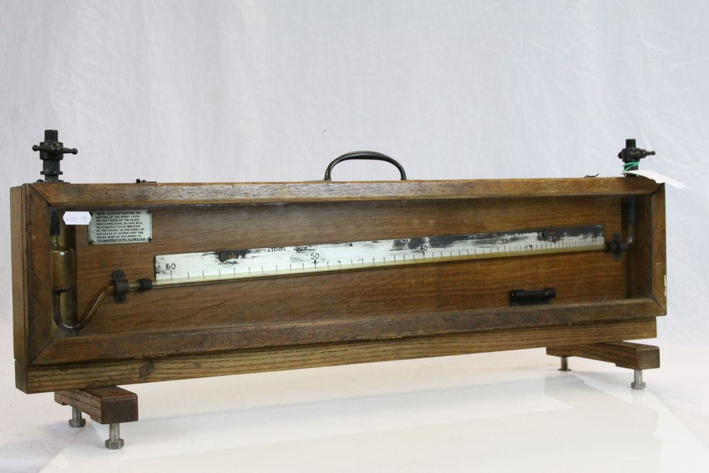 "Lot 41 - Vintage Oak cased ""Negretti & Zambra Precision Manometer with stand, approx 76 x 29.5 x 7cm at the"