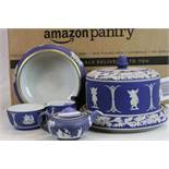 Collection of 19th Century Wedgewood blue & white Jasperware ceramics to include a covered Cheese