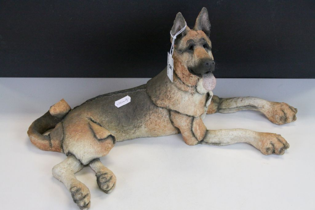 "Lot 5 - Grant Palmer ""Mutts"" series model of ""Watcher Alsatian"", approx 42cm long"