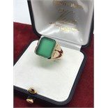 GENTS SIGNET RING SET WITH GREEN STONE IN 9ct GOLD
