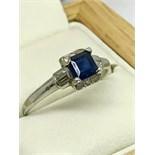 VINTAGE SAPPHIRE & DIAMOND RING MARKED PLAT & 10% IRIDIUM