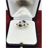 BEAUTIFUL SAPPHIRE & DIAMOND RING SET IN 9ct GOLD