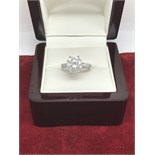 4.20ct DIAMOND SOLITAIRE RING SET IN WHITE METAL MARKED 750 TESTED AS 18ct