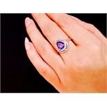 Pear Sapphire & Diamond 14ct White Gold Ring