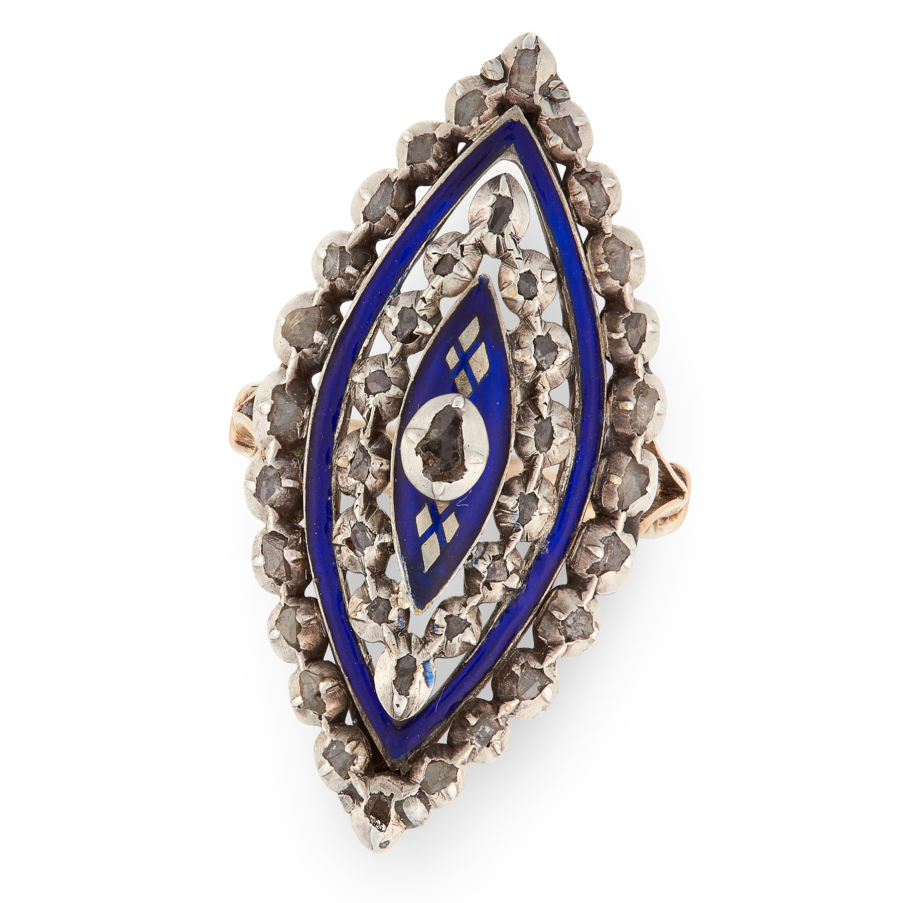 AN ANTIQUE ENAMEL AND DIAMOND BAGUE DE FIRMAMENT RING, 19TH CENTURY in yellow gold and silver, the
