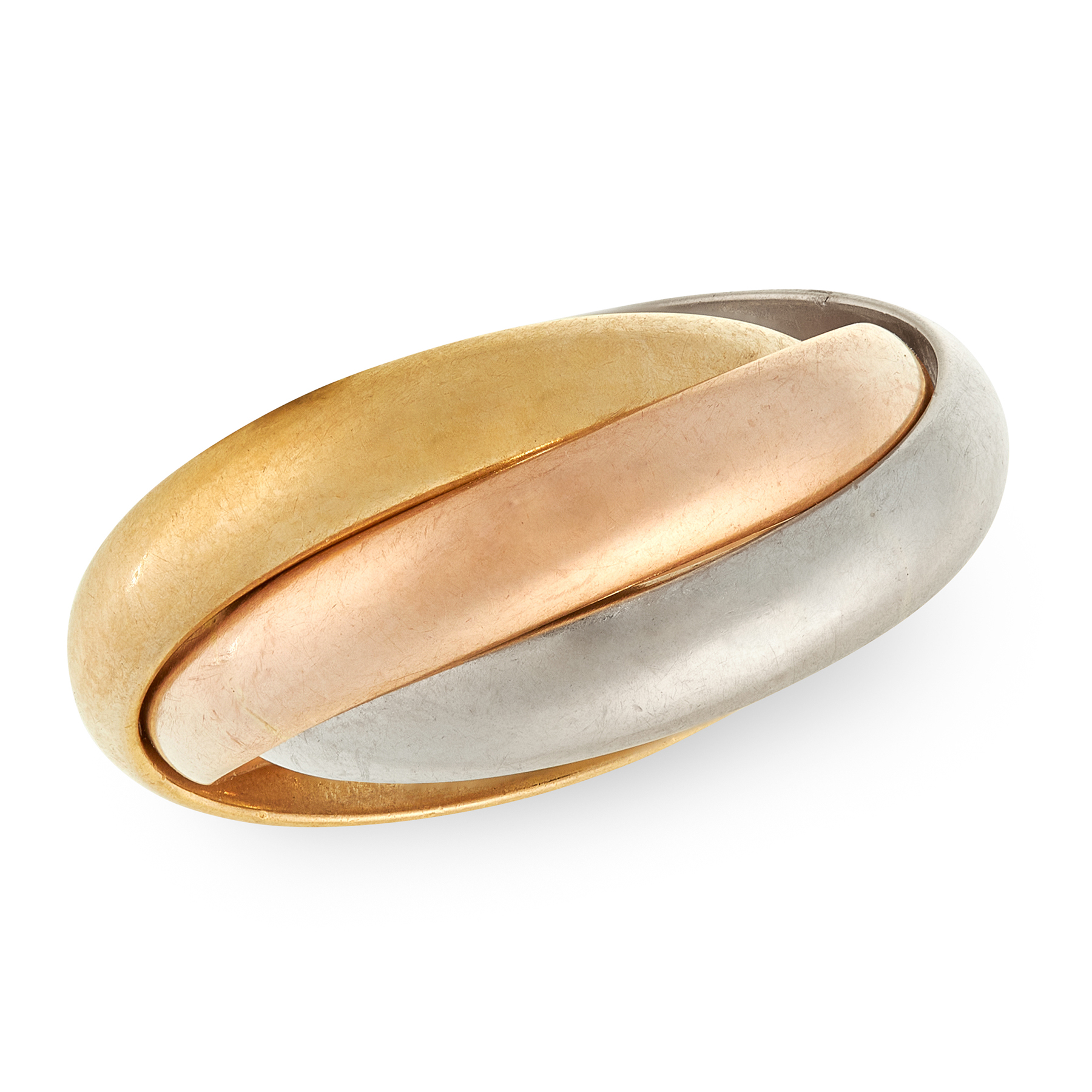 A TRINITY DE CARTIER RING, CARTIER in 18ct white, yellow and rose gold, comprising of three