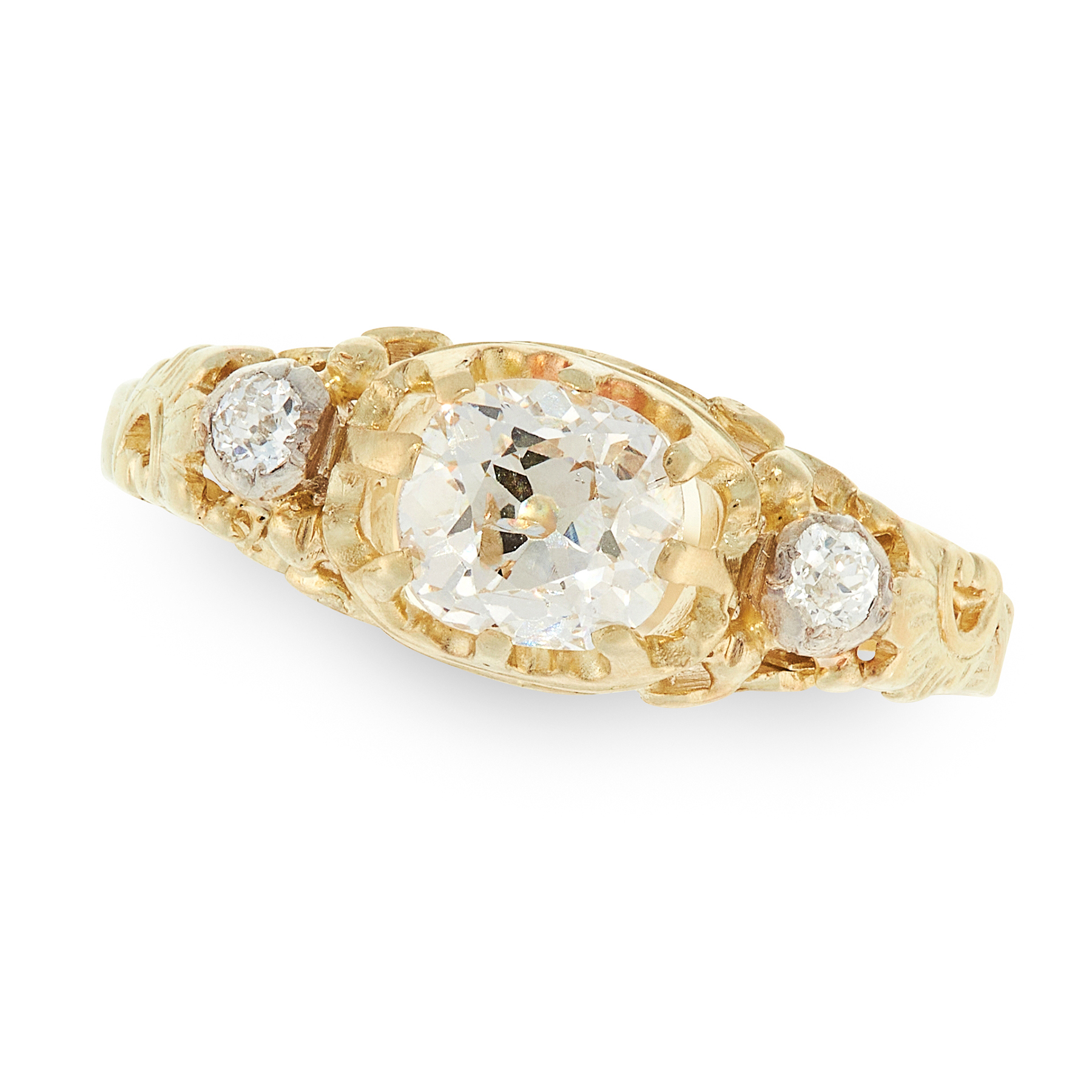 AN ANTIQUE DIAMOND DRESS RING, 19TH CENTURY in high carat yellow gold, set with three old cut