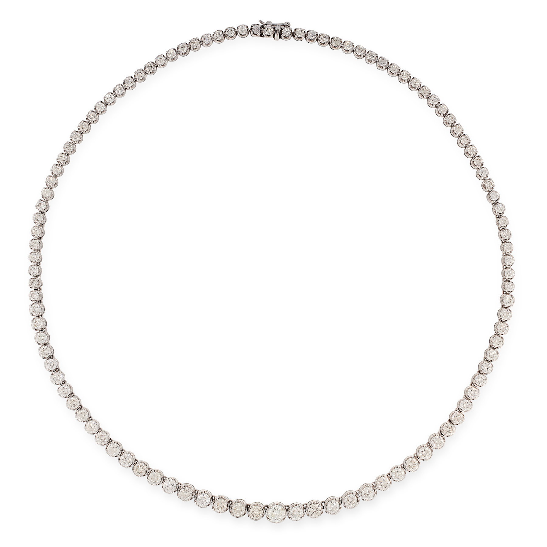A 14.50 CARAT DIAMOND RIVIERE NECKLACE in 18ct white gold, comprising a single row of graduated