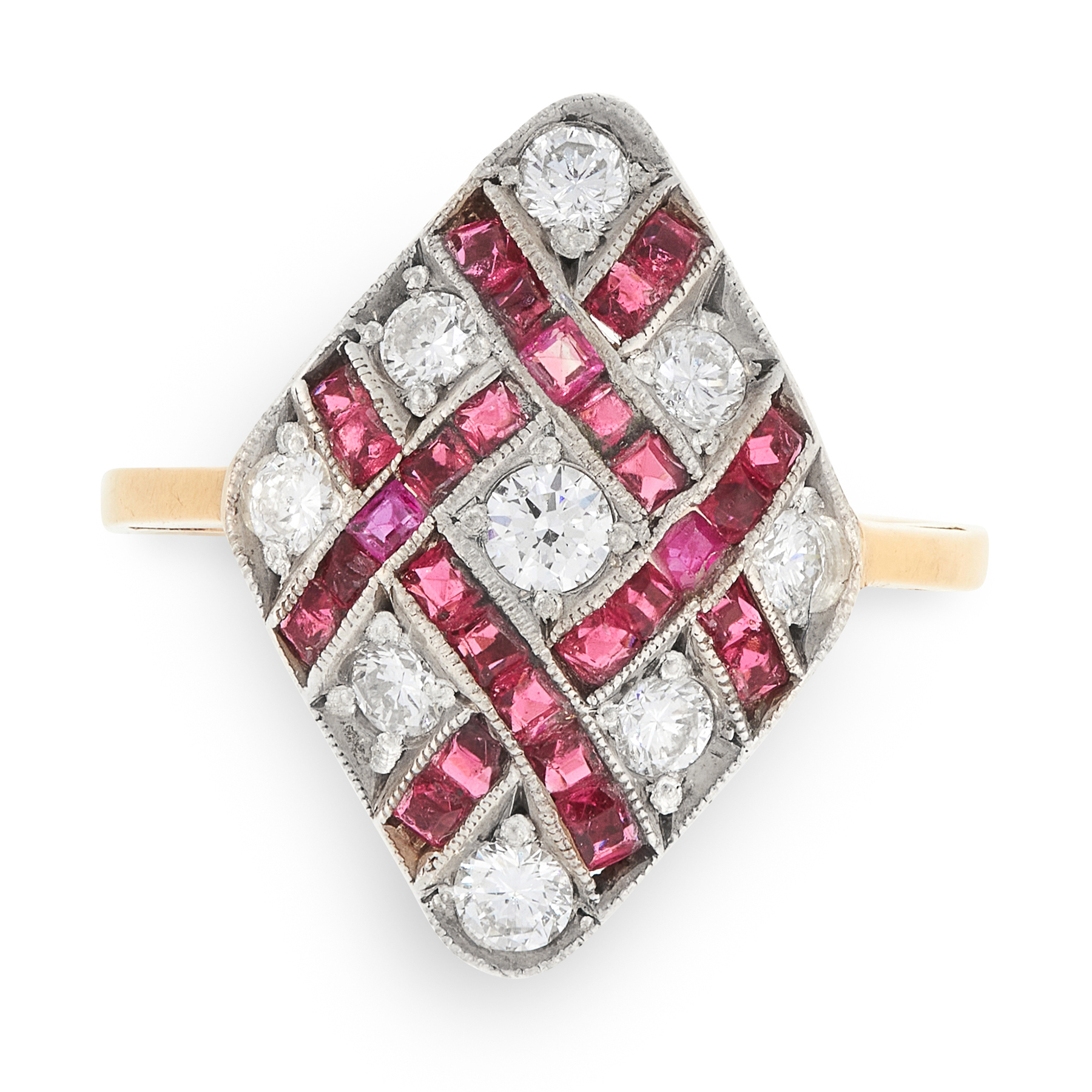 A RUBY AND DIAMOND DRESS RING in 18ct yellow gold, the kite shaped face set with alternating round