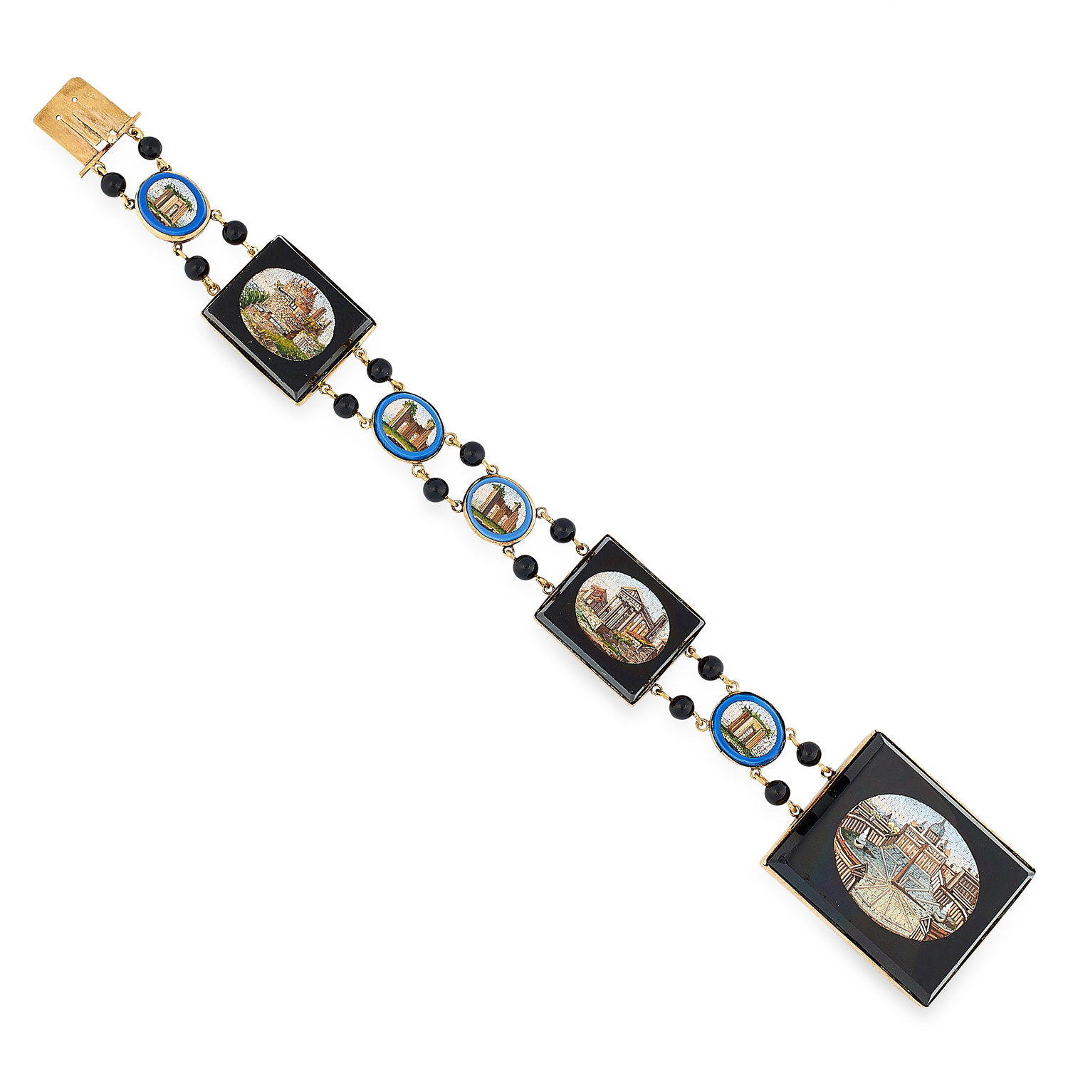 AN ANTIQUE MICROMOSAIC BRACELET, 19TH CENTURY in yellow gold, comprising three graduated rectangular