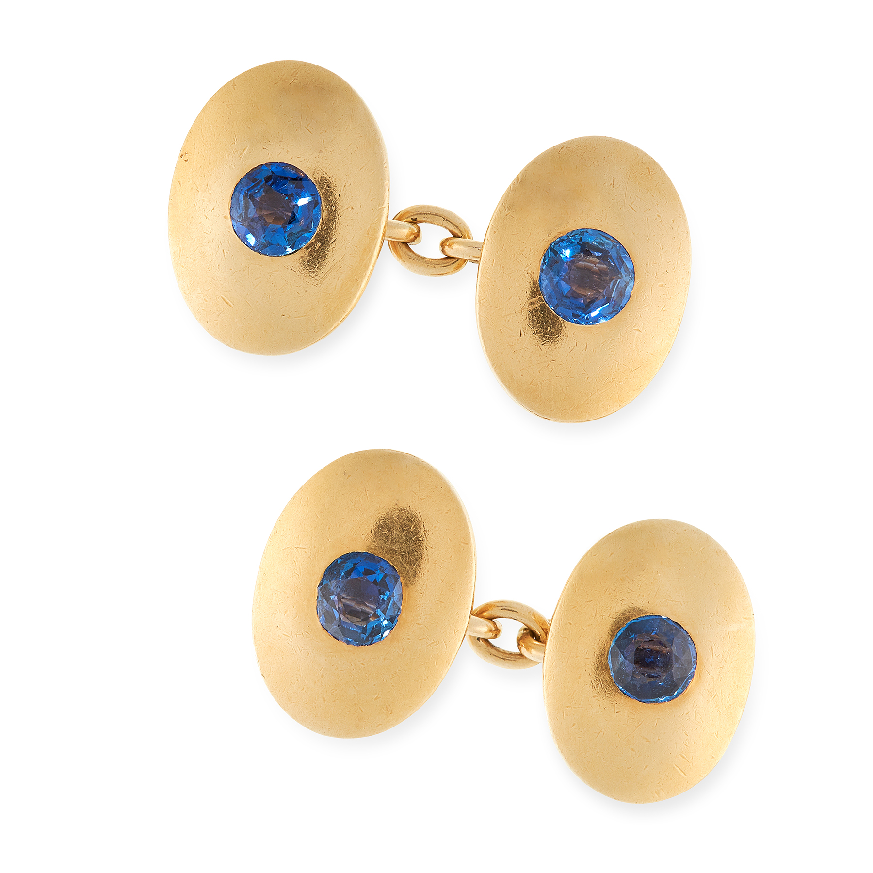 A PAIR OF SAPPHIRE CUFFLINKS in 18ct yellow gold, each formed of two oval faces, set with four round