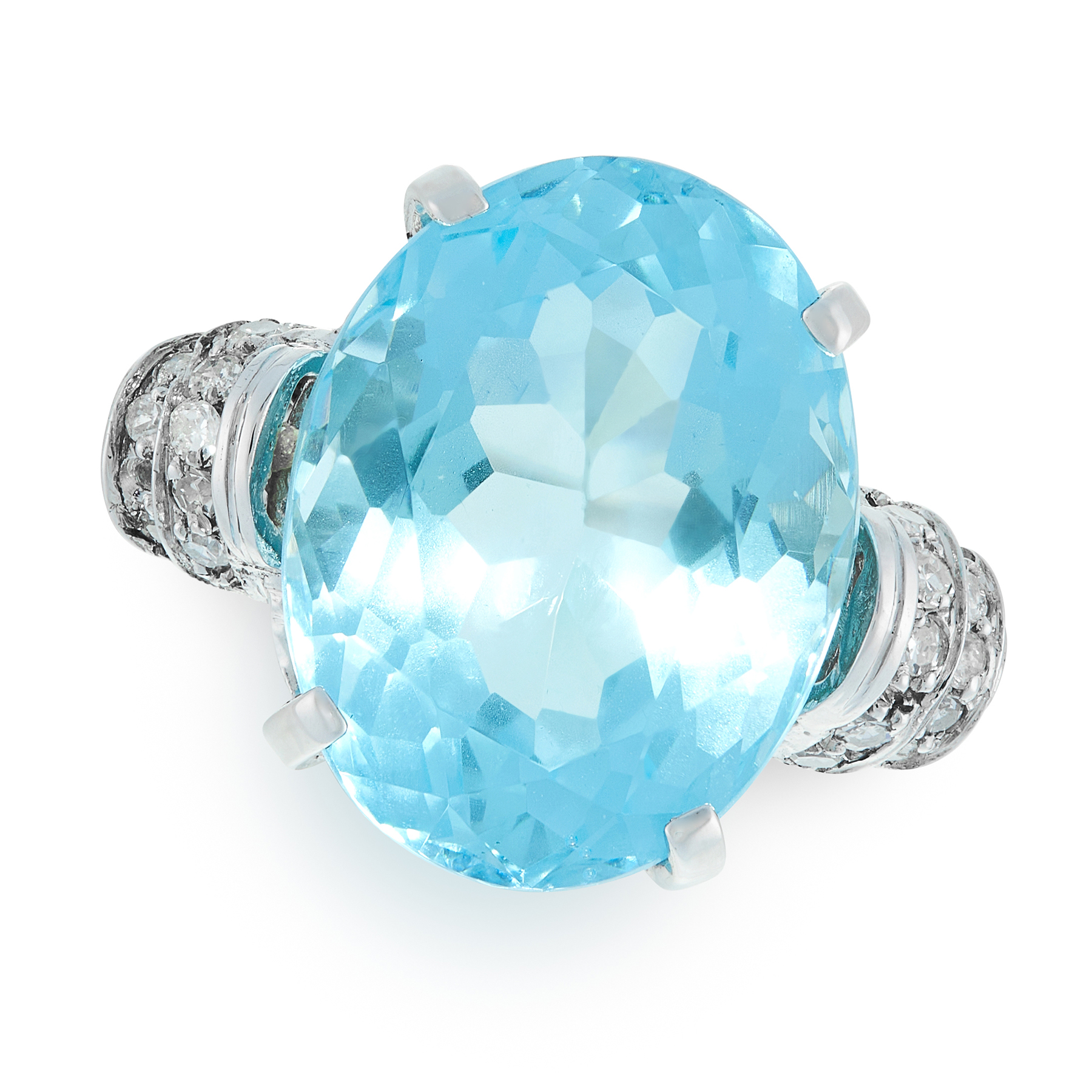 A BLUE TOPAZ AND DIAMOND RING in white gold, set with an oval cut blue topaz of 15.10 carats, the