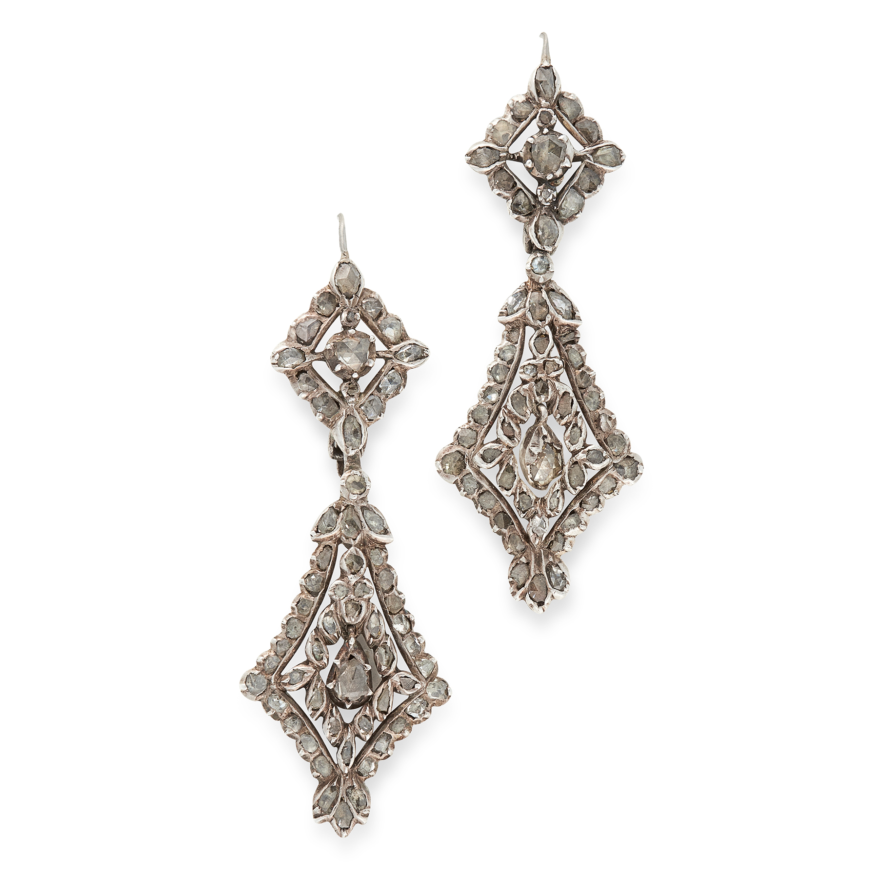 A PAIR OF ANTIQUE DIAMOND EARRINGS, CIRCA 1800 in silver, the tapering, articulated bodies set
