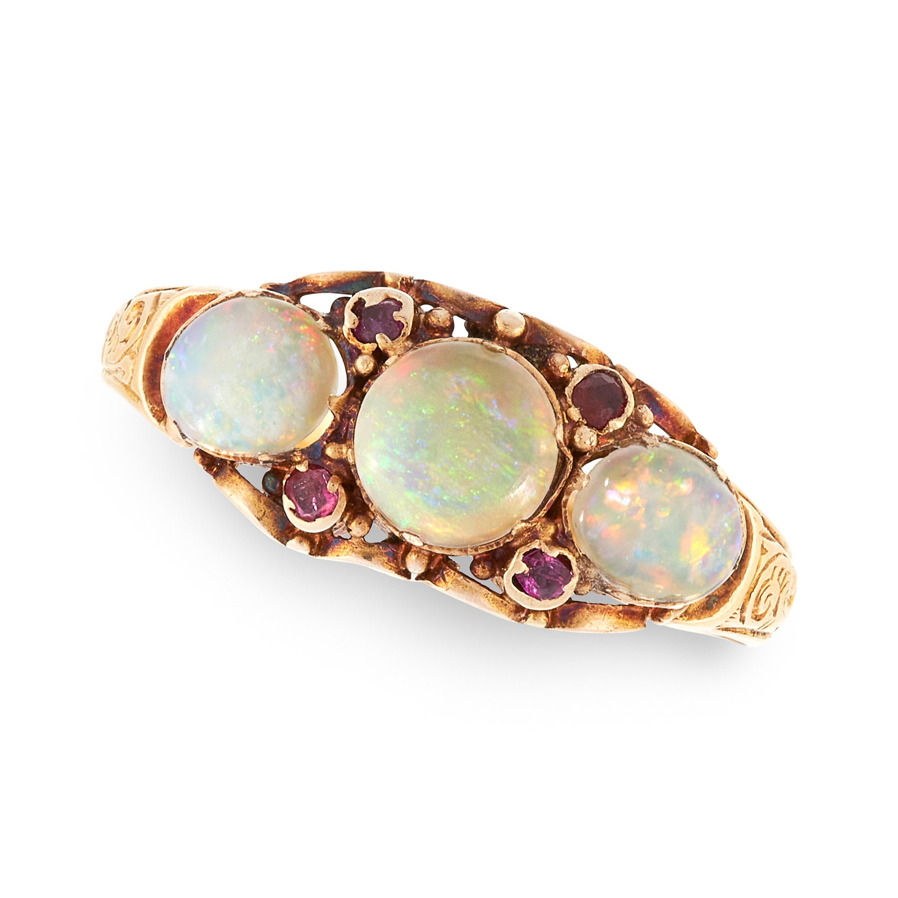 AN ANTIQUE OPAL AND RUBY DRESS RING in 18ct yellow gold, set with three cabochon opals and round cut