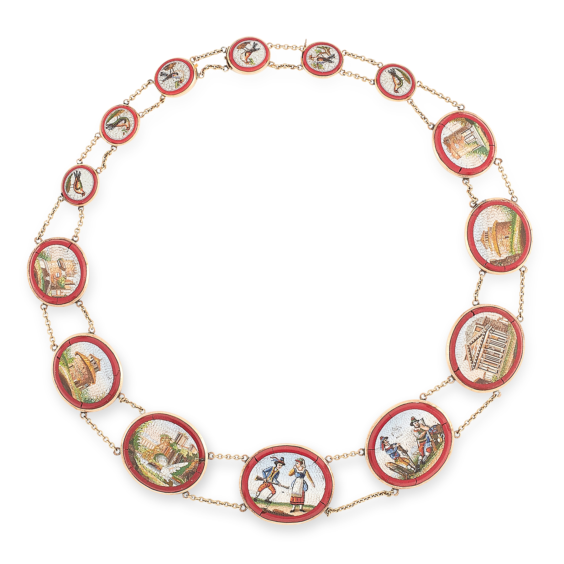 AN ANTIQUE MICROMOSAIC RIVIERE NECKLACE, 19TH CENTURY in yellow gold, comprising a row of fourteen