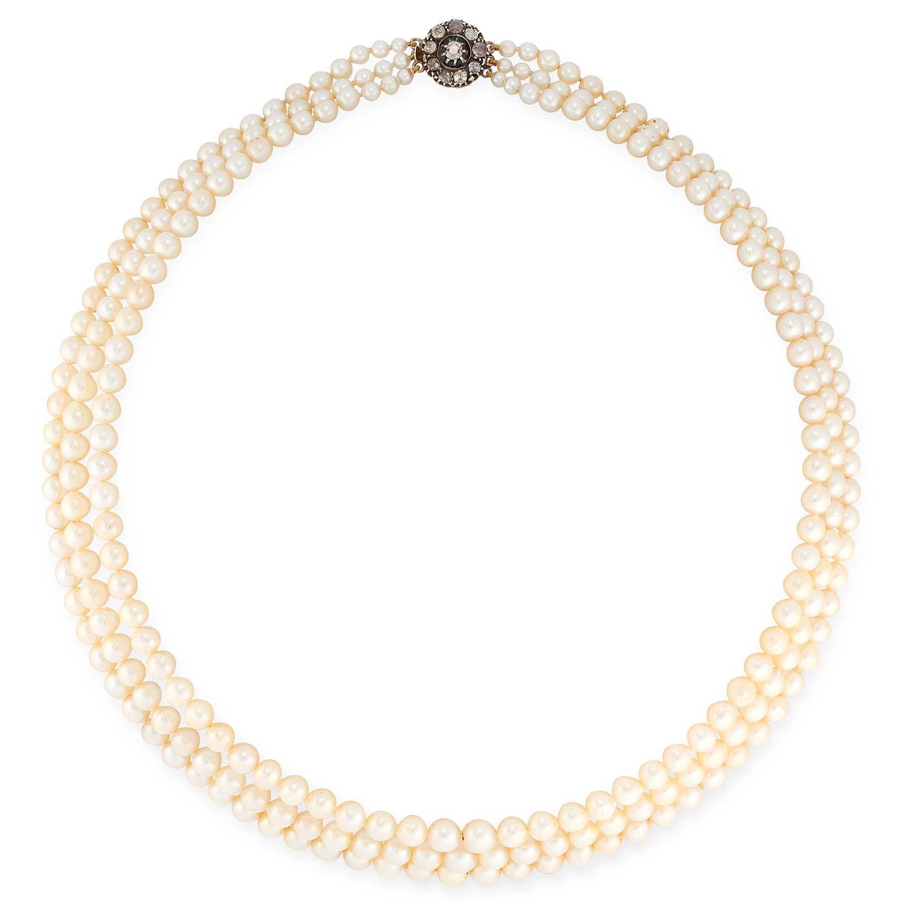A THREE ROW PEARL AND DIAMOND NECKLACE in yellow gold, comprising three rows of graduated pearls