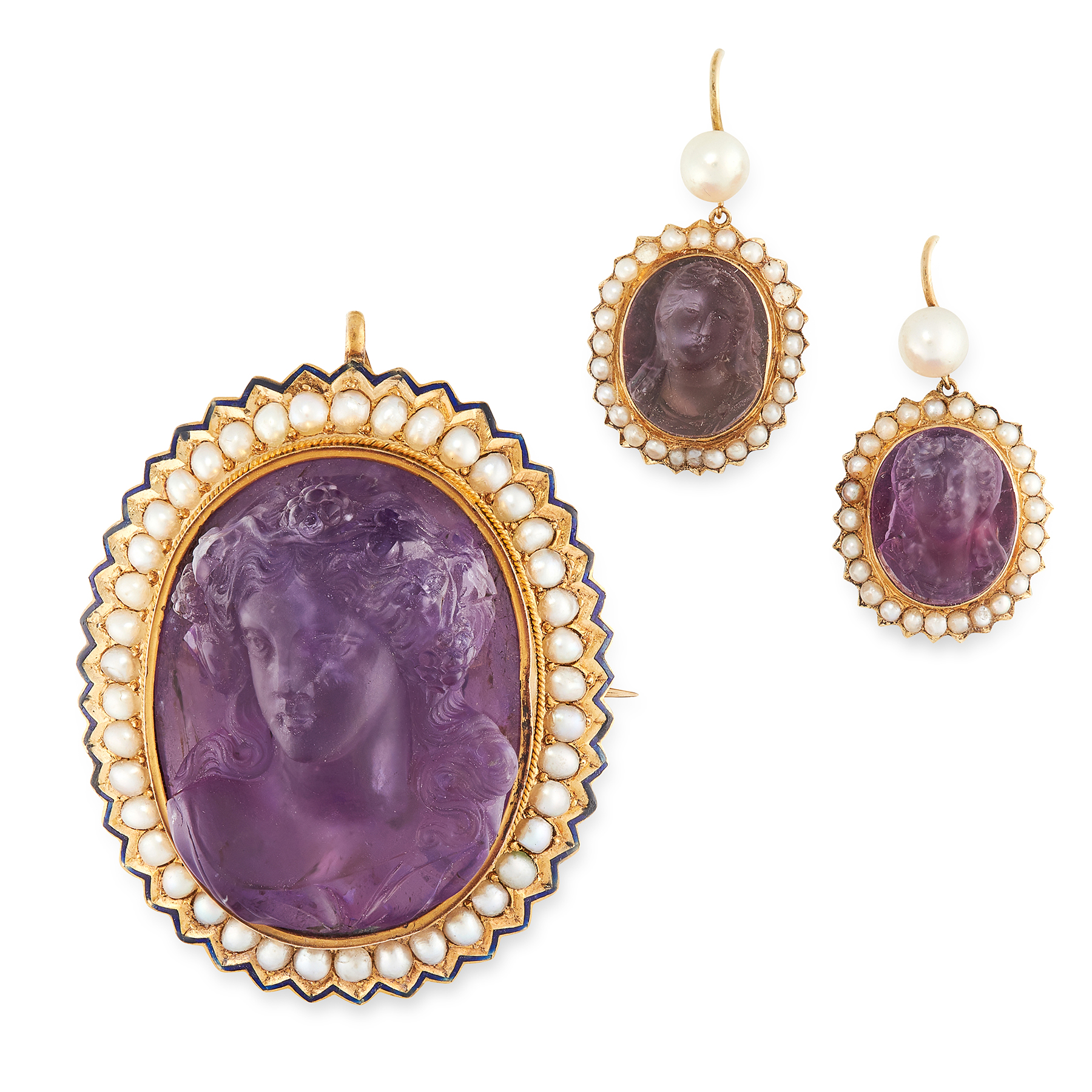 AN ANTIQUE AMETHYST CAMEO, PEARL AND ENAMEL BROOCH / PENDANT AND EARRINGS SUITE, 19TH CENTURY in