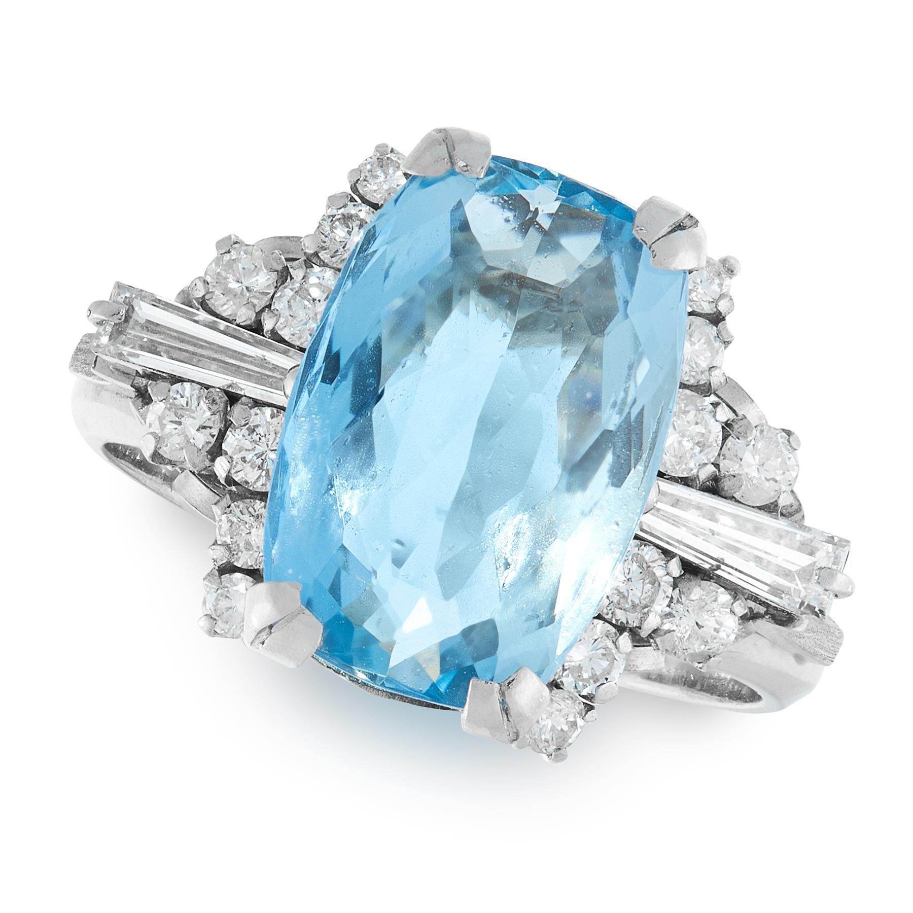 AN AQUAMARINE AND DIAMOND RING in platinum, set with an cushion cut aquamarine of 4.70 carats, the