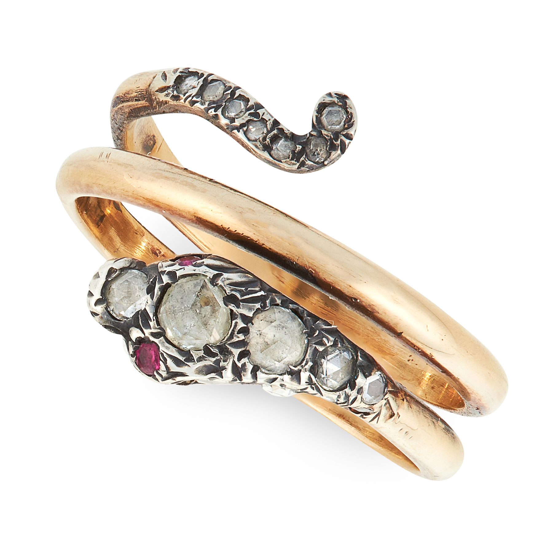 AN ANTIQUE DIAMOND AND RUBY SNAKE RING, 19TH CENTURY in yellow gold and silver, designed as a